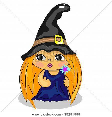 varinha de exploração de bruxa de desenho animado. traje de Halloween desenho