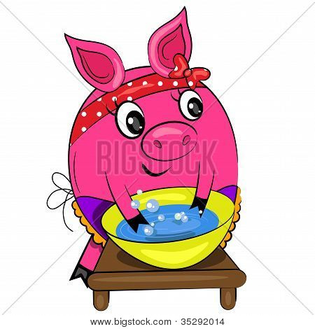 cartoon pig washing. housewife in kitchen painting