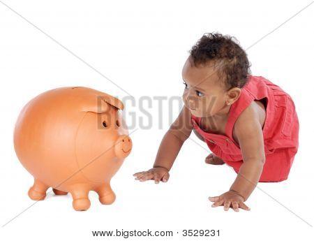 African Beautiful Baby Crawling