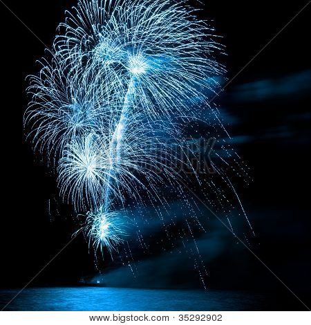 Beautiful Firework Over The Water