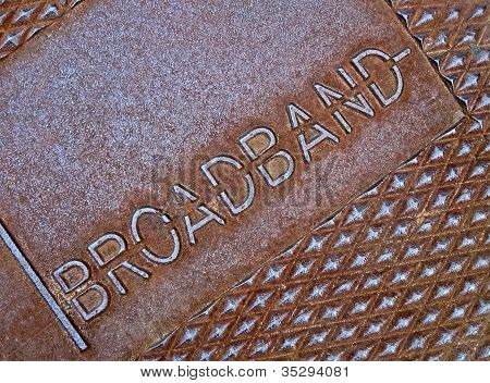 Cable Broadband As Text On Metal Surface, Modern Telecommunication