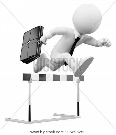 3D Businessman White People. Hurdle Race