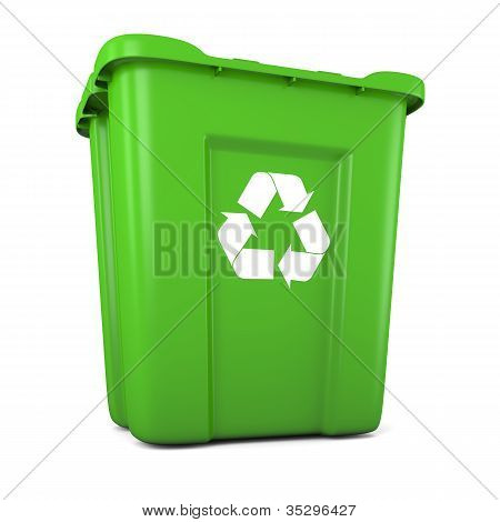 Green Plastic Recycle Bin