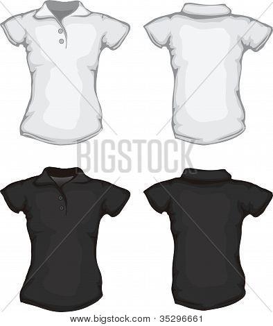 Black White Women's Polo Shirt Template