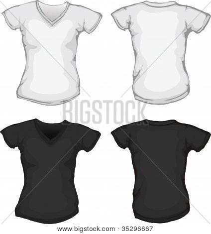 Black White Female V-neck Shirt Template