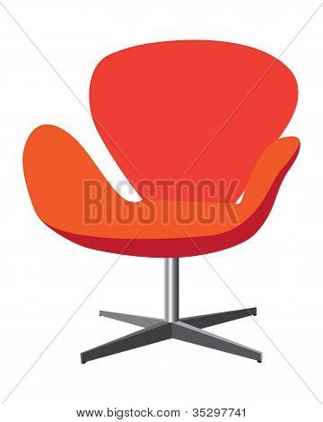 Modern, Comfortable, Elegant And Stylish Chair Illustration In Red And Orange Color On White Backgro