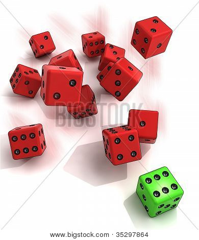 several plastic dices rolling with one green winning