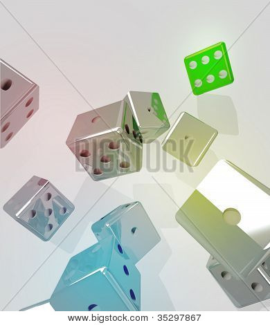 Group Of Rolling Metallic Dices With Winner Green One