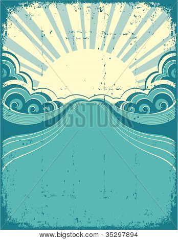 Grunge Nature Poster Background With Sunshine.