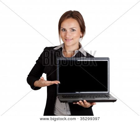 Businesswoman Pointing On Laptop