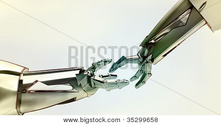 two shaking robotic metallic hands