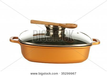 Cookware, Nonstick Pan And Wooden Spoon