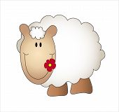stock photo of the lost sheep  - a illustration of sheep isolated in white background - JPG