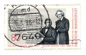 Circa 1985: Stamp Printed In Germany, Shows Portrait Brothers Grimm, Circa 1985