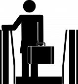 Stick Woman On Escalator With Briefcase. poster