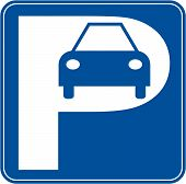 stock photo of parking lot  - blue and white car parking sign  - JPG