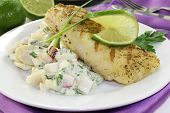 pic of hake  - Potato salad with fresh herbs and hake fillet - JPG