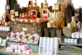 pic of cosmetic products  - Variety of aromatherapy and spa soaps and natural cosmetics - JPG