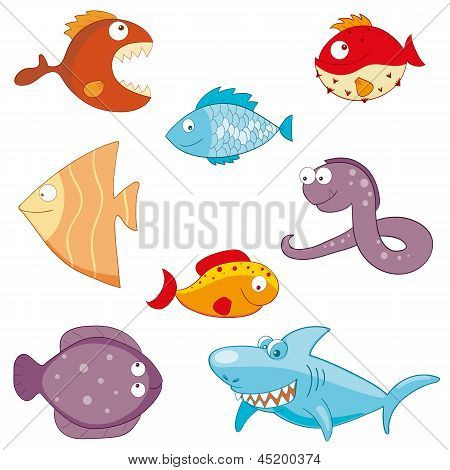 Cartoon Fishes Doodle Icon Set