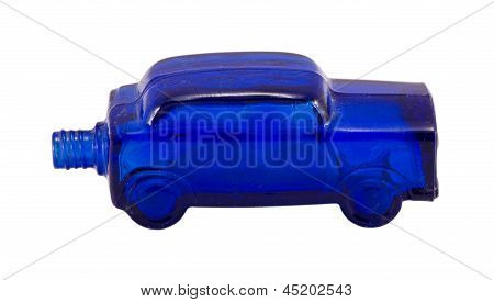 Vintage Old Glass Bottle Car Shape Isolated White