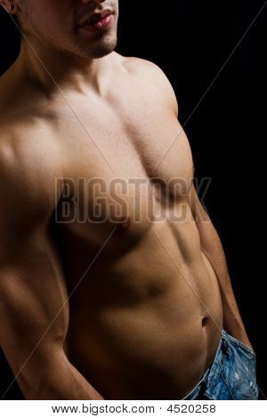 Artistic Portrait Of Muscular Male Bodybuilder