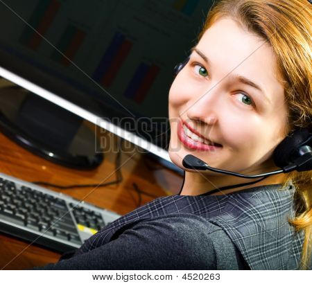 Call Center Female Operator Smiling