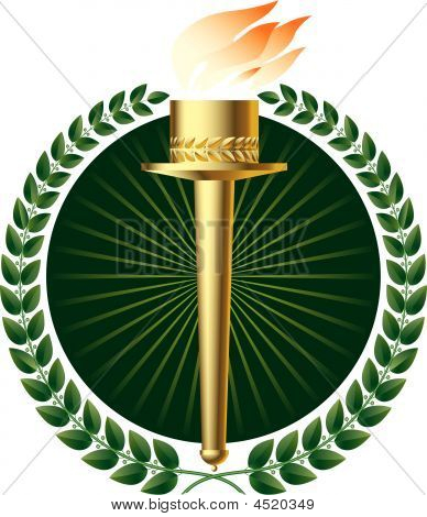 Green Laurels And Gold Torch