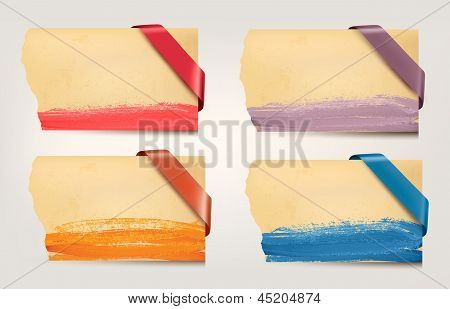 Set Of Old Cardboard Paper Banners With Sale Ribbons. Vector