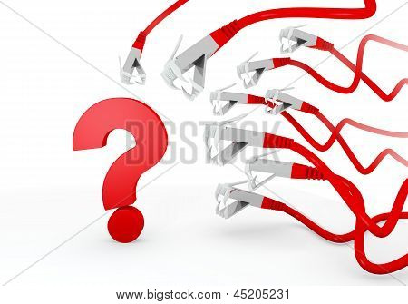 3d graphic of a ? question symbol attacked by a cyber network