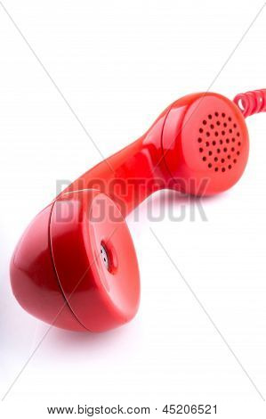 Rotary telephone handset with white background