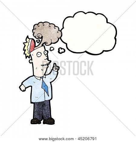 cartoon businessman with overheated brain