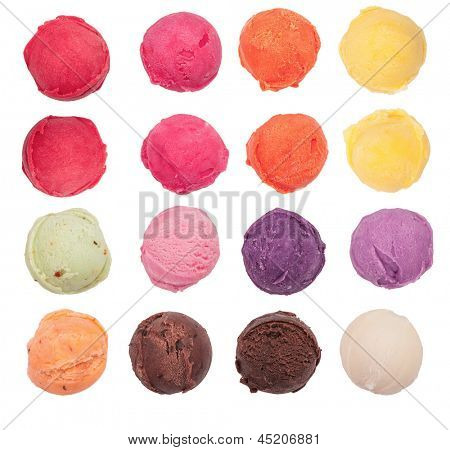 Ice cream scoops collection, isolated on white background