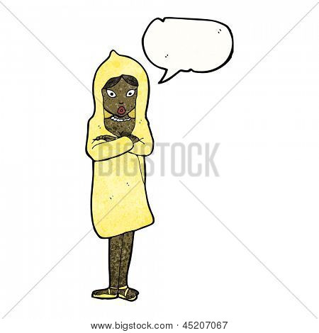 cartoon woman in raincoat with speech bubble