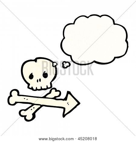 skull and crossbones direction arrow