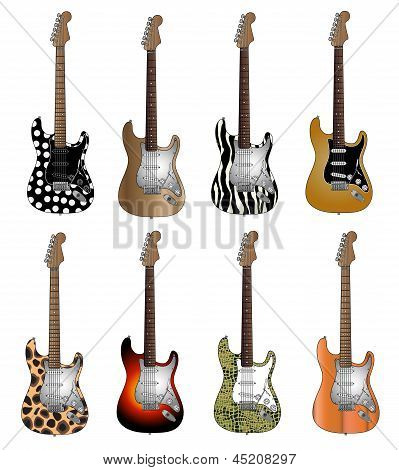 Conjunto de ocho colores deluxe electric guitars
