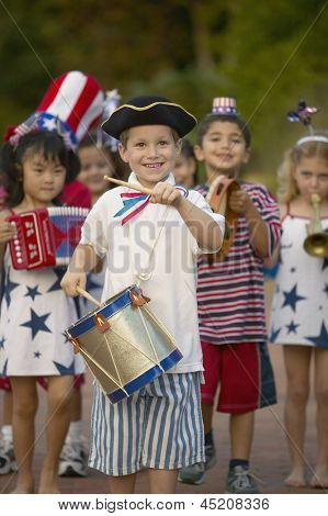 Portrait of children in 4th of July parade