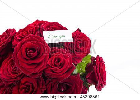 Red Roses With A Declaration Of Love