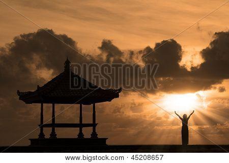 Beautiful Bali Beach Silhouette At Sunset