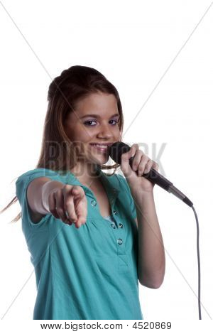 Teenage Girl Singing On White
