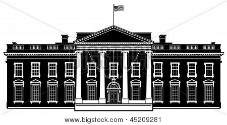 White House Washington DC Black Vector Illustration Silhouette