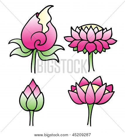 Set Of Simple Lotus Flowers