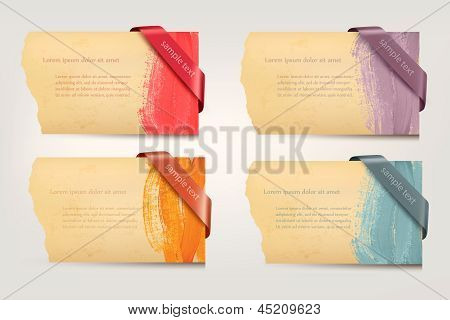 Collection of retro cardboard paper banners with color ribbon tags. Vector