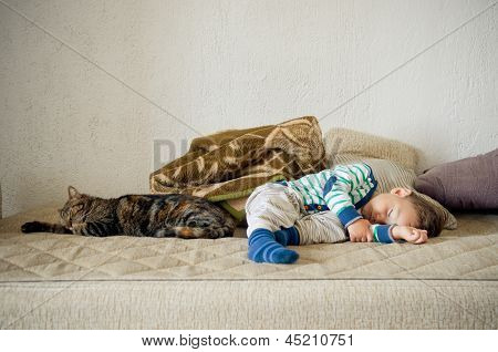 Baby Boy And Cat Sleeping Together