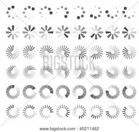 Web page loading status icons isolated on white background.