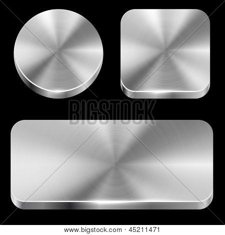 Blank brushed metal buttons isolated on black background vector template.