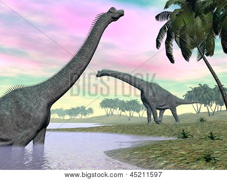 Brachiosaurus Dinosaurs In Nature - 3D Render