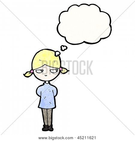 cartoon annoyed blond girl with thought bubble