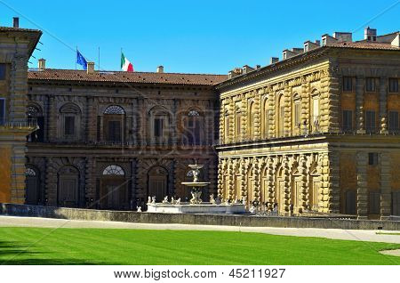 view of back facade of Palazzo Pitti, facing Boboli Gardens, in Florence, Italy