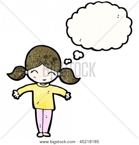 cartoon girl with pigtails and thought bubble