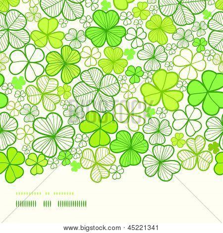 Clover line art horizontal decor seamless pattern background